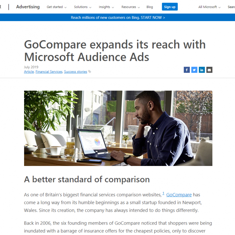 GoCompare expands its reach with Microsoft Audience Ads