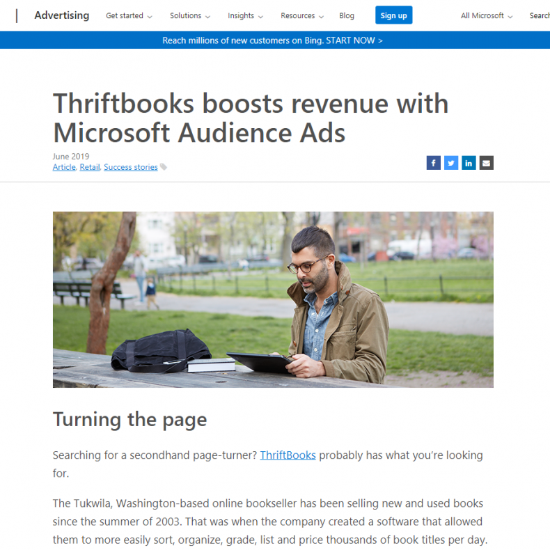 Thriftbooks boosts revenue with Microsoft Audience Ads